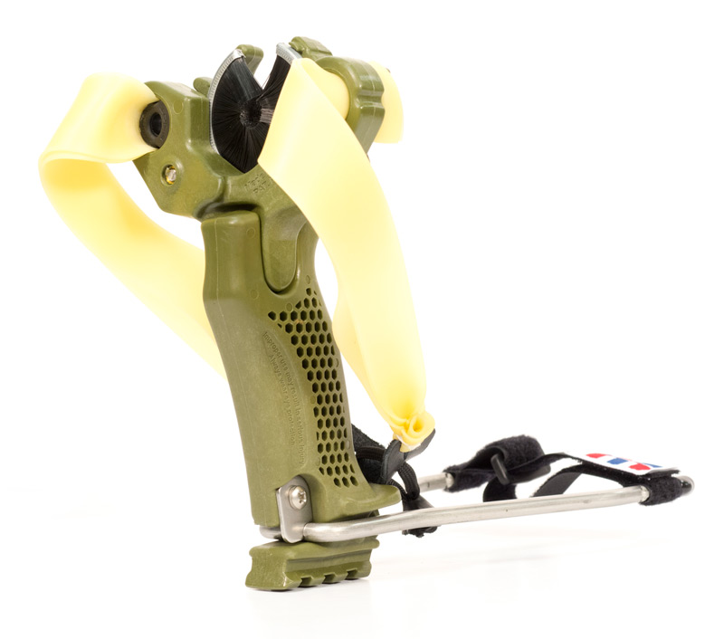 The Hammer in sling bow configuration with wrist brace.