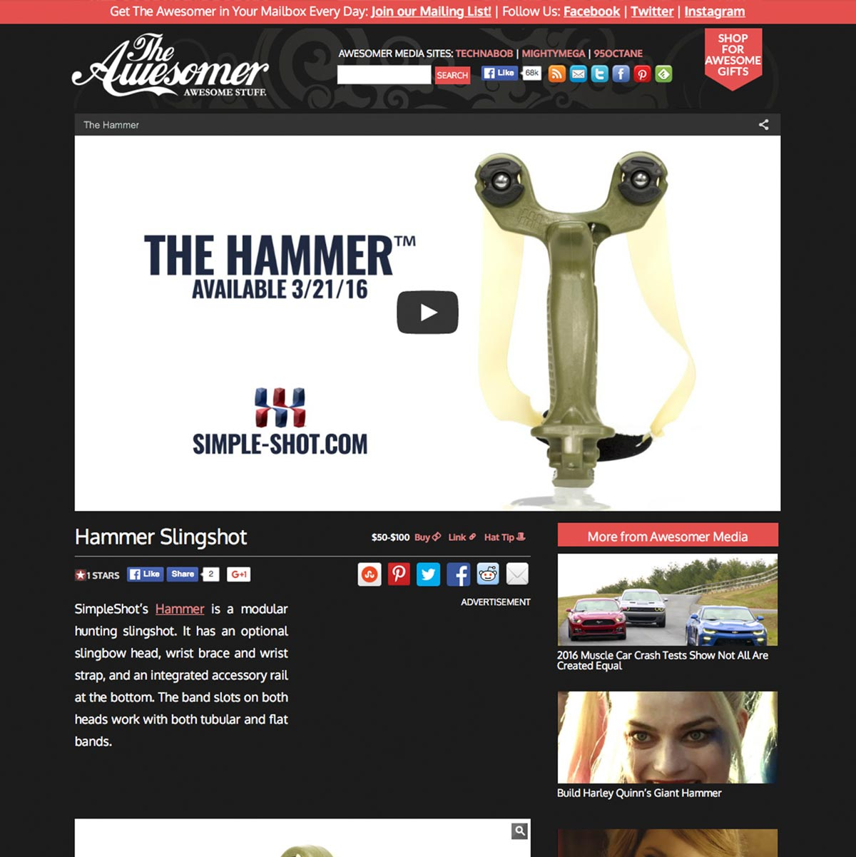 The Awesomer Hammer Slingshot Review