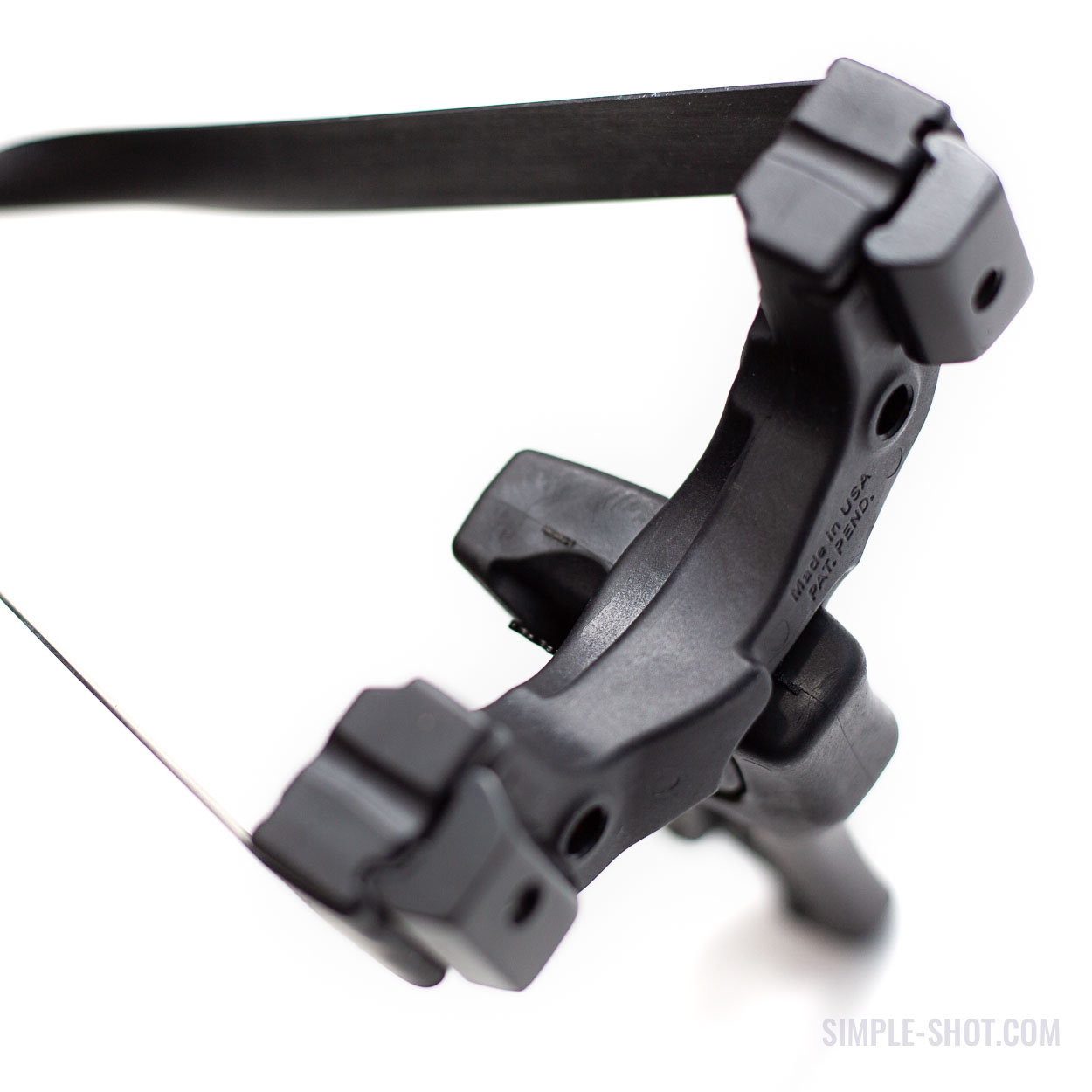 The Powerful Hammer Slingbow head in black with wrist brace